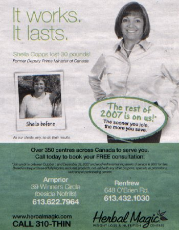 Herbal Magic Nutrition Centres/Sheila Copps ad