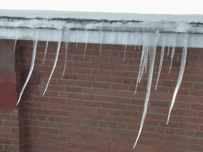 Photo of curved icicles seen outside our apartment