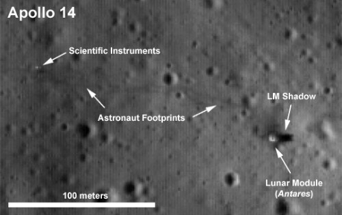 LRO image of the Apollo 14 landing site, with labels